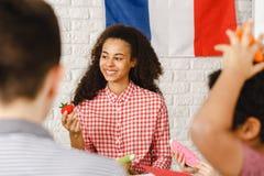 Donna sulle classi francesi Immagine Stock Libera da Diritti