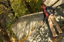 Donna sulle scale Fotografie Stock Libere da Diritti