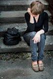 Donna sulle scale Immagini Stock Libere da Diritti