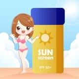 Donna sveglia del fumetto con protezione solare royalty illustrazione gratis