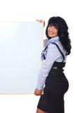 Donna sveglia di affari con la bandiera in bianco Fotografia Stock Libera da Diritti