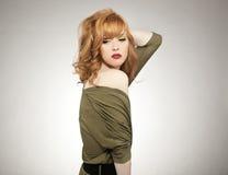 donna sveglia di redhead Fotografia Stock