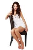 Donna sveglia e sexy in biancheria isolata su bianco Fotografia Stock Libera da Diritti