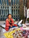 Donna tailandese del paesino di montagna al mercato Fotografie Stock Libere da Diritti