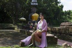 Donna Tailandia del nord di Lanna Fotografie Stock Libere da Diritti