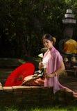Donna Tailandia del nord di Lanna Fotografie Stock