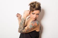 Donna tatuaata Immagine Stock Libera da Diritti