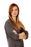 Donna teenager felice con le armi piegate Immagine Stock Libera da Diritti