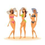 Donna tre in bikini, sorridere felice della gamba delle ragazze del cappello sexy lungo integrale di usura royalty illustrazione gratis