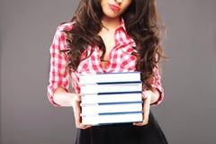 Donna triste con i libri Immagine Stock Libera da Diritti