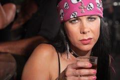 Donna triste con whiskey Fotografia Stock