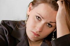 Donna triste del brunette Fotografia Stock Libera da Diritti