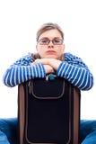 Donna turistica annoiata del viaggiatore con bagagli Immagine Stock Libera da Diritti