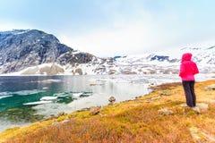 Donna turistica che fa una pausa il lago Djupvatnet, Norvegia Fotografie Stock