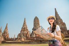 Donna turistica della Tailandia Ayutthaya di viaggio sull'Asia Fotografia Stock