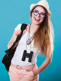 Donna turistica in ritratto del cappello di estate Fotografie Stock Libere da Diritti