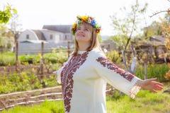 Donna ucraina felice del ritratto Fotografie Stock