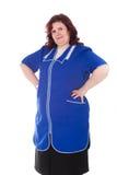 Donna in un azzurro complessivo fotografie stock libere da diritti