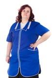 Donna in un azzurro complessivo immagini stock libere da diritti