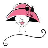 Donna in un cappello con il nastro Fotografia Stock Libera da Diritti