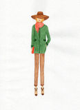 Donna in un cappotto, illustrazione Fotografia Stock