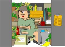 Donna in un cubicolo stipato di illustrazione di stock