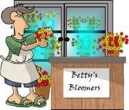 Donna in un negozio di fiore illustrazione di stock
