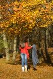Donna in un paesaggio romantico di autunno Fotografie Stock Libere da Diritti
