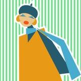 Donna in un retro stile del SIC 60 su un fondo verde chiaro Immagini Stock