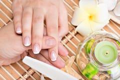 Donna in un salone dell'unghia che riceve manicure Fotografia Stock Libera da Diritti
