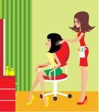 Donna in un salone di bellezza. illustrazione di stock