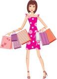 Donna in un vestito cremisi con i sacchetti. Acquisto royalty illustrazione gratis