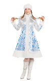 Donna in un vestito della ragazza della neve Fotografia Stock