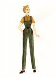 Donna in un vestito di lavoro Illustrazione Immagine Stock