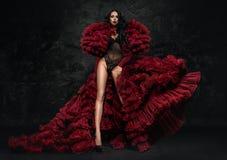 Donna in un vestito rosso lanuginoso Fotografie Stock Libere da Diritti