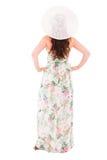Donna in un vestito su un fondo bianco Fotografia Stock Libera da Diritti