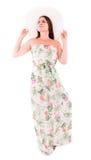Donna in un vestito su un fondo bianco Immagine Stock Libera da Diritti