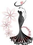 Donna in un vortice del fiore Fotografie Stock Libere da Diritti