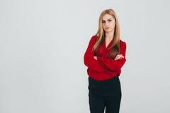 Donna in una blusa rossa Immagini Stock Libere da Diritti