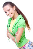Donna in una camicia gialla ed in un rivestimento verde Immagini Stock Libere da Diritti