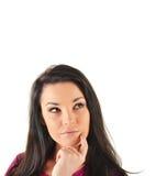 Donna in una posa premurosa isolata Fotografia Stock Libera da Diritti