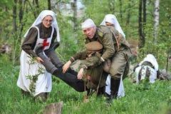Donna in uniforme dell'infermiere dell'esercito russo durante il primo Worl Fotografia Stock