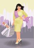 Donna urbana di modo più di dimensione con i sacchetti della spesa Immagini Stock