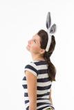 Donna vaga con le orecchie di coniglio Fotografia Stock Libera da Diritti