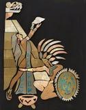 Donna variopinta e capo del nativo americano illustrazione di stock