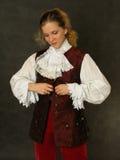 Donna in vecchi vestiti francesi Fotografia Stock Libera da Diritti