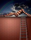 Donna verniciata sulla parete Immagine Stock