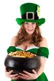 Donna vestita come leprechaun Fotografia Stock