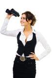 Donna in vestiti convenzionali che si levano in piedi e che osservano in Immagine Stock Libera da Diritti