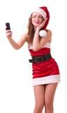 Donna in vestiti del Babbo Natale Immagine Stock Libera da Diritti